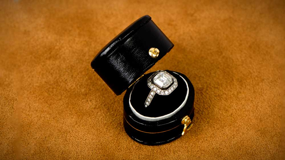 Asscher Cut Diamond Halo Ring in Ring Box