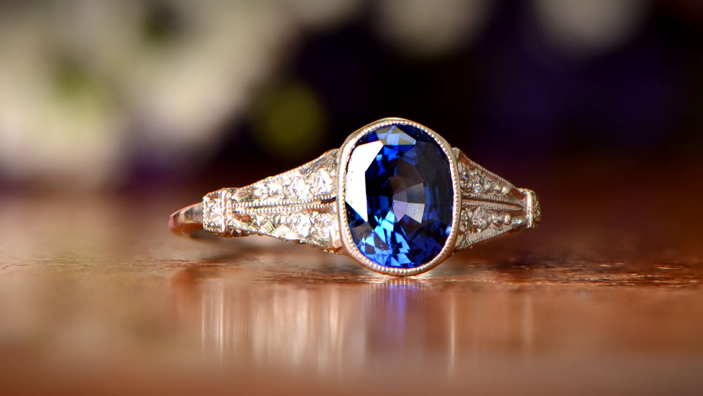 estate sapphire heirloom engagement ring