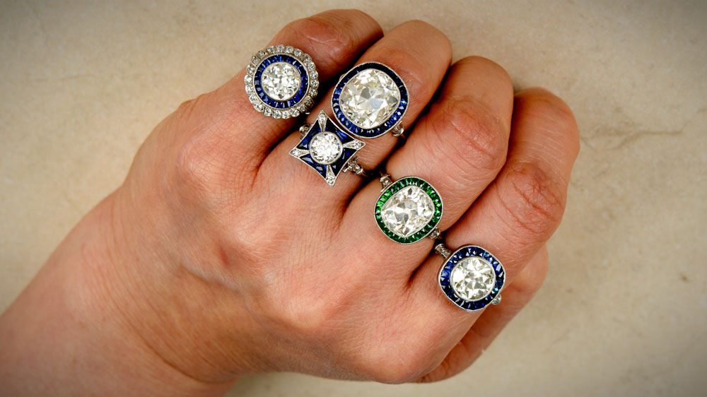 Sapphire Halo Rings on Hand