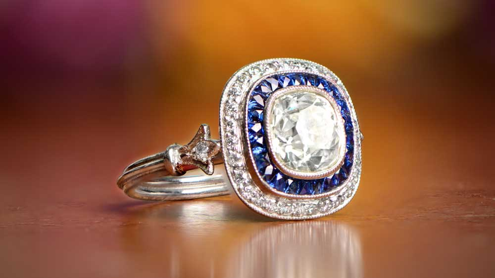 11874-Artistic Diamond and Sapphire Engagement Ring