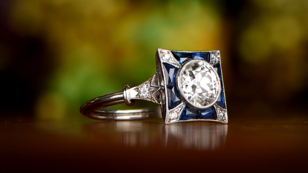 11998 Artistic 3 Diamond and Sapphire Engagement Ring