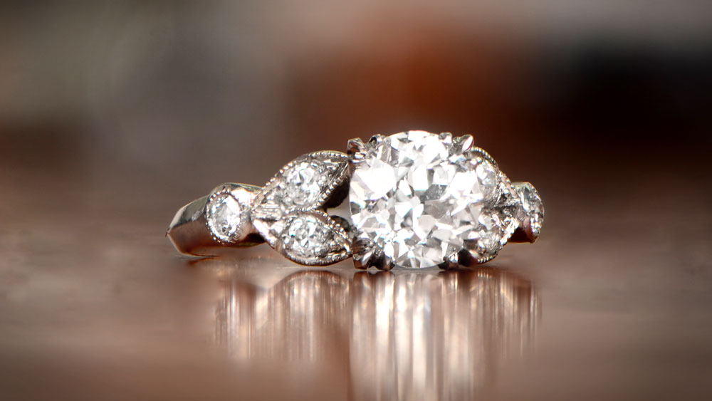 12297 Diamond Engagement Ring Art on Wood