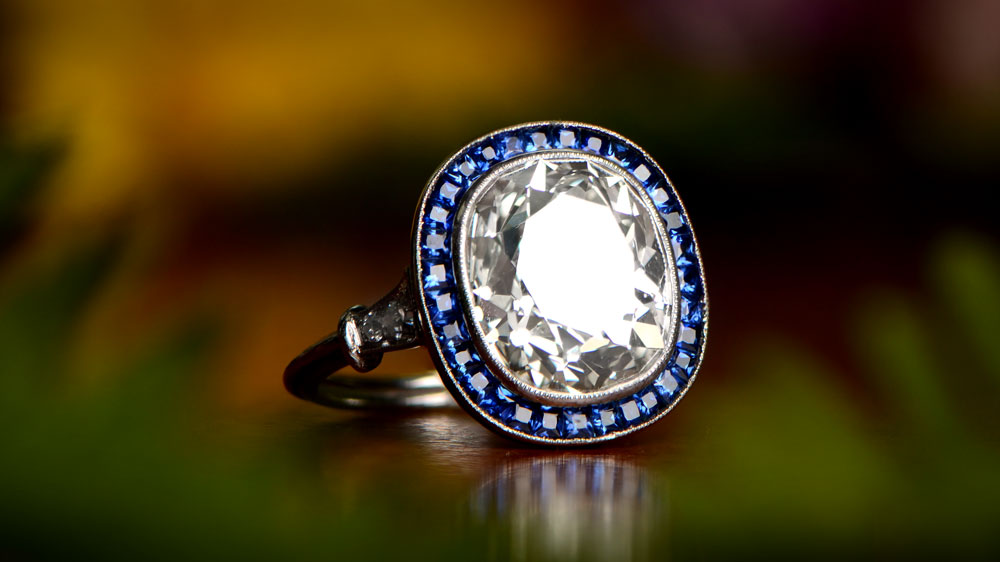 Custom Create Diamond Engagment Ring with Sapphire Halo