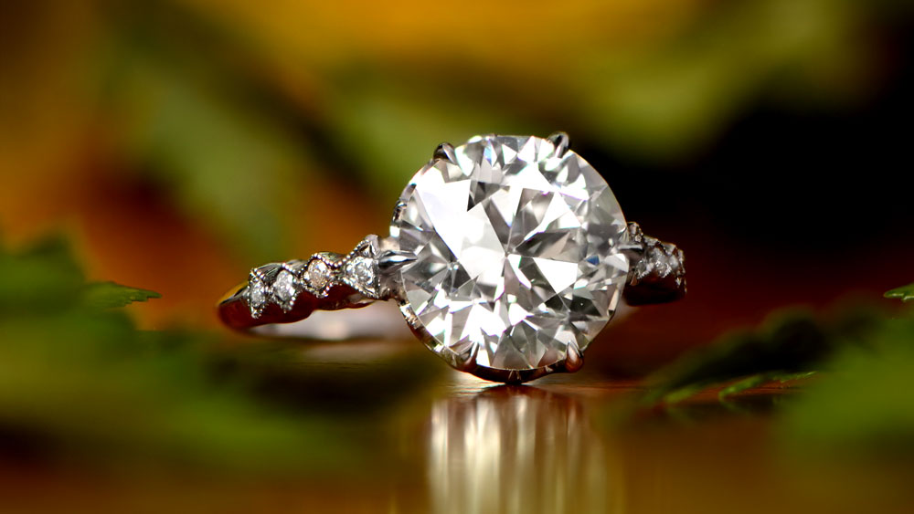 Diamond Ring with Band and Sides