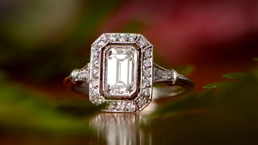 Emerald Cut Diamond Stone in Custom Engagement Ring