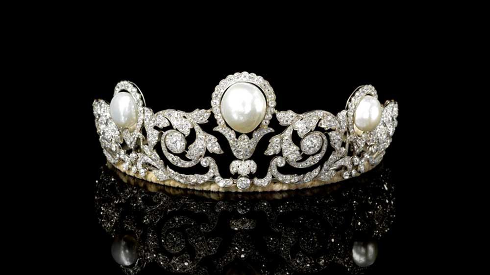 Natural Saltwater Pearl Diamond Tiara Chaumet 1920
