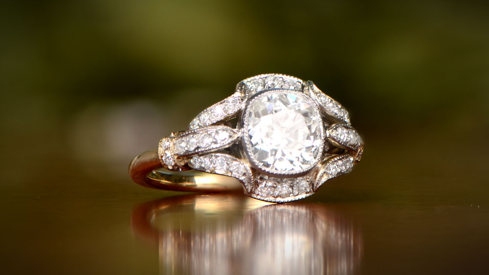 Platinum and Gold Cushion Diamond Engagement Ring 12254