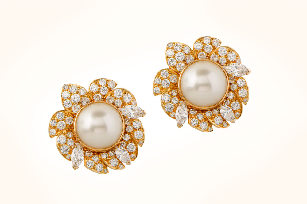 VCA Natural Pearl and Diamond Earrings
