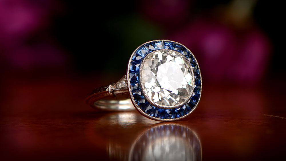 Diamond and Sapphire Cushion Engagement Ring