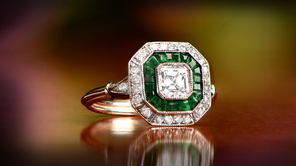 Asscher Cut Engagement Ring from Estate Diamond Jewelry