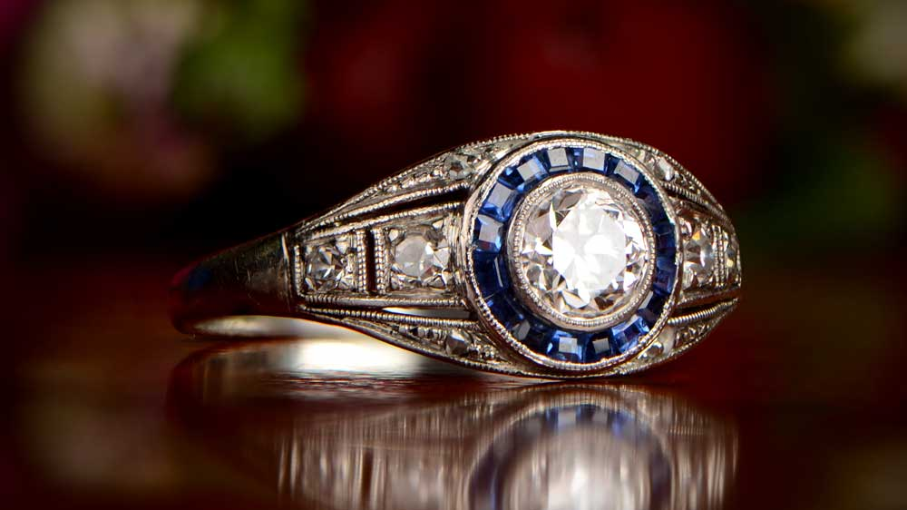 Old European Cut Diamond and Sapphire Engagement Ring