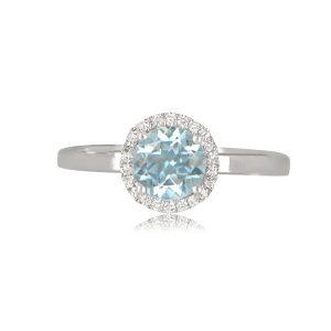 Aqua Halo Ring