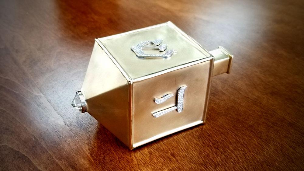Estate Diamond Jewelry Dreidel on Wood