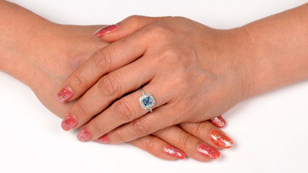 12065 Filigree Ring Aquamarine on Finger