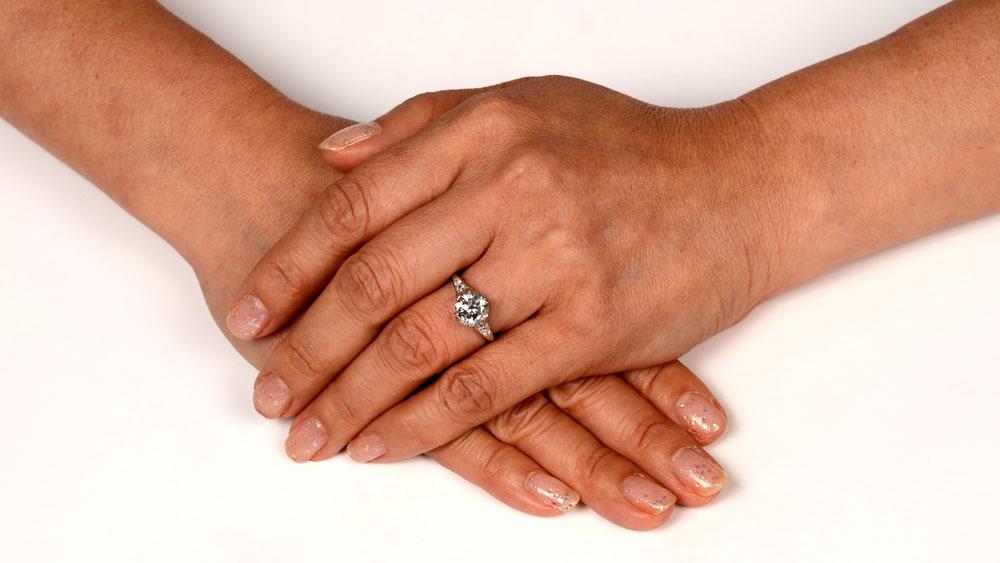 Filigree Diamond Engagement Ring on Hand