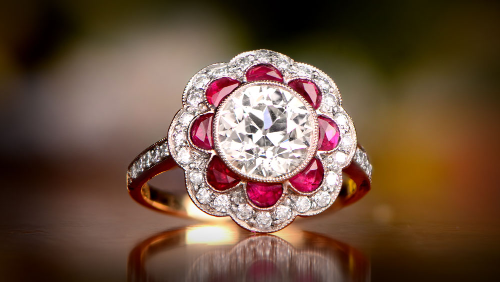Diamond and Ruby Floral Halo Engagement Ring 12303