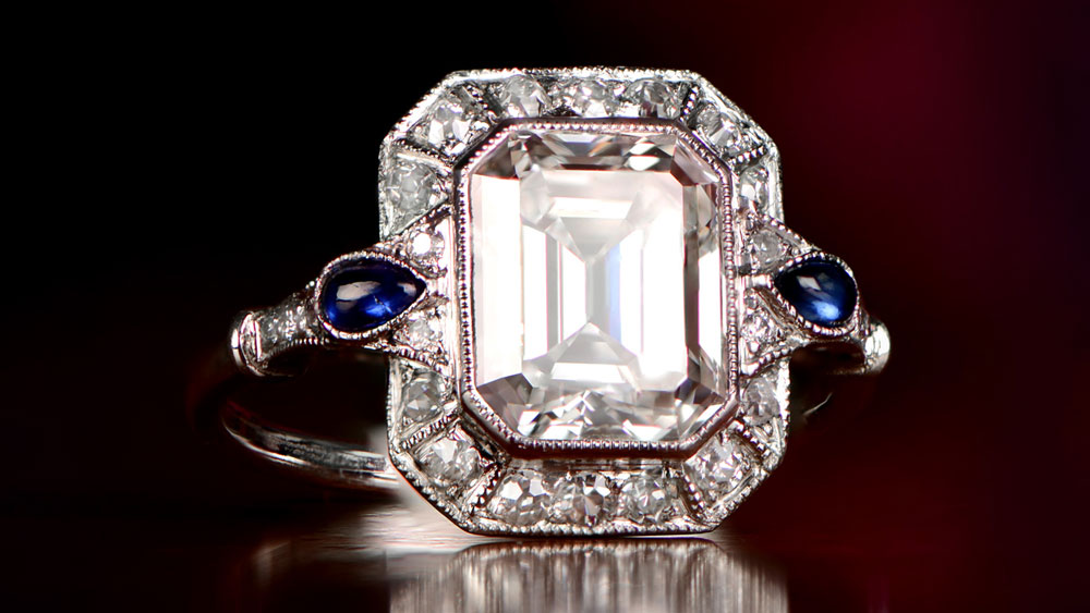 Emerald Cut Diamond Engagement Ring with Halo