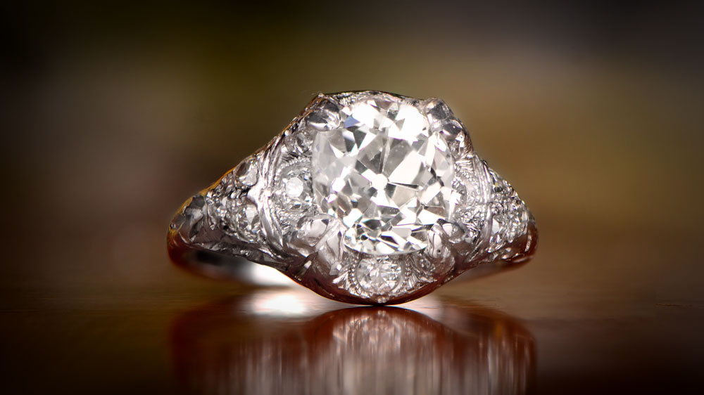 Filigree Diamond Engagement Ring 11902