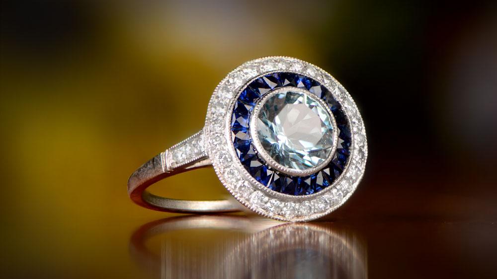 Aquamarine Halo Sapphire Diamond Ring