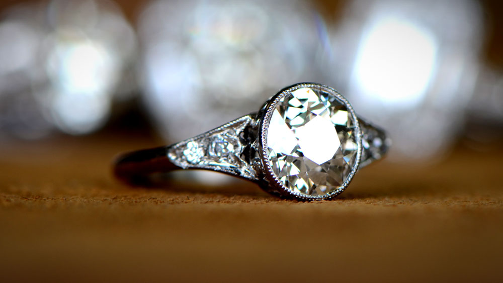 vintage engagement ring with old European cut diamond