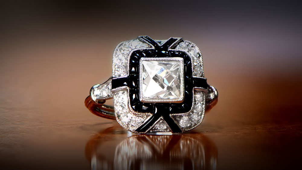 12203 French Cut Diamond and Onyx Engagement Ring