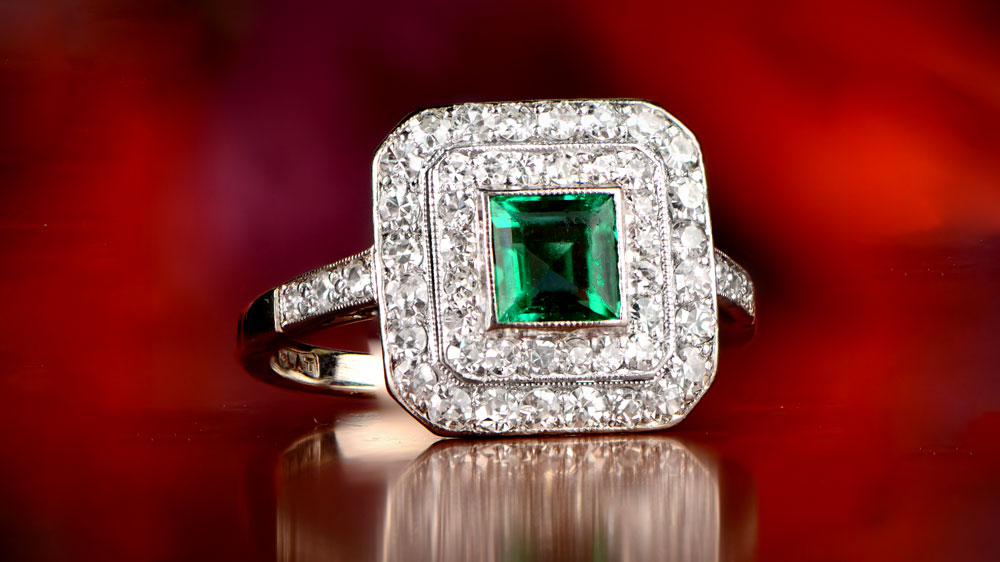 French Cut Emerald Ring