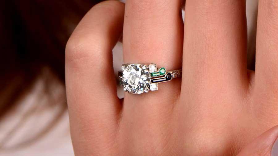 11947 Two Carat Diamond Engagement Ring on Finger