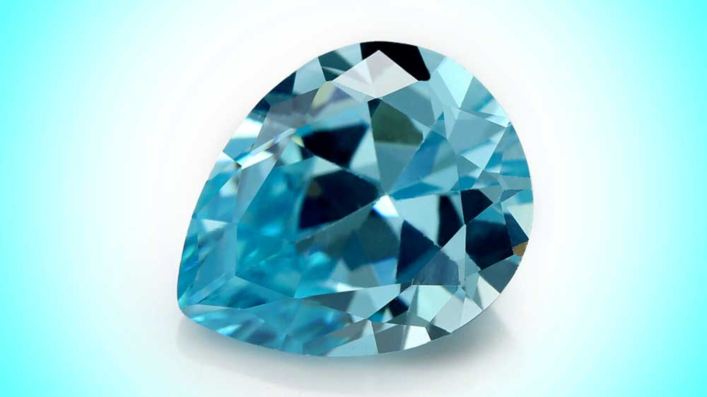 Blue Zircon Pear Shape Loose but High Quality