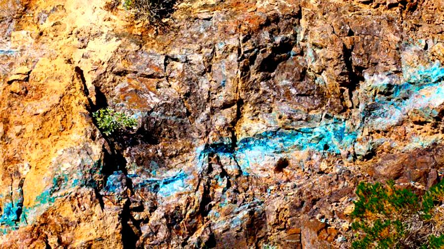 Turquoise Mine in Rocks