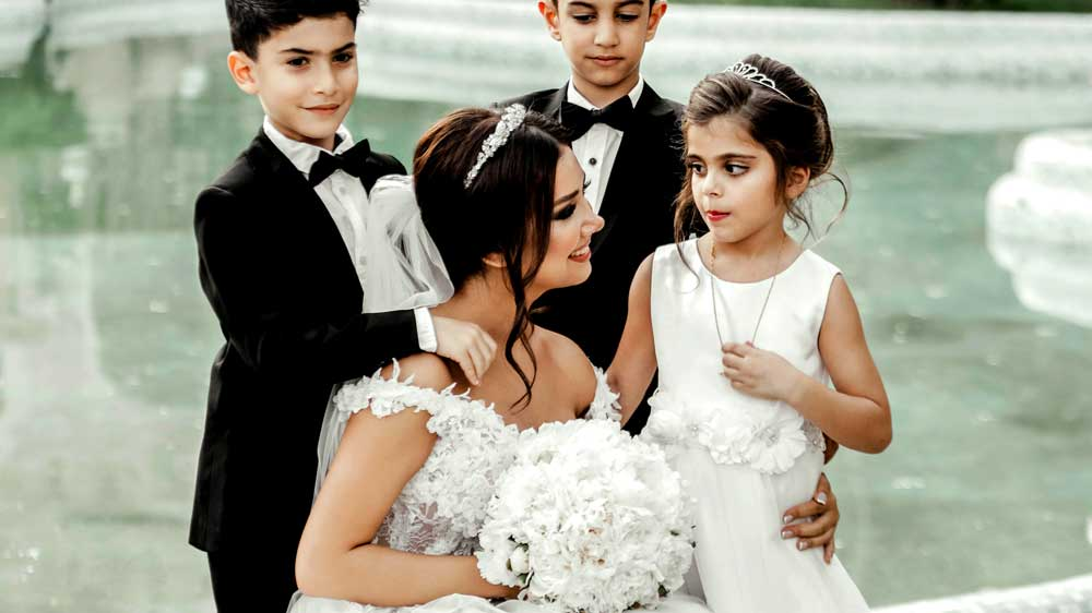 Bride with Ring Bearer and Flower Girl