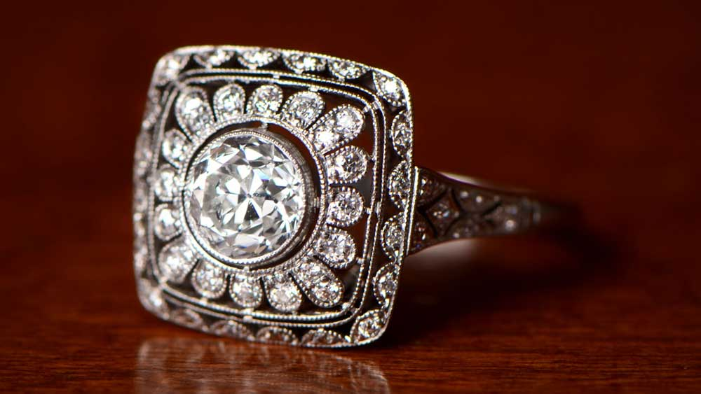 Filigree on an Vintage Style Engagement Ring