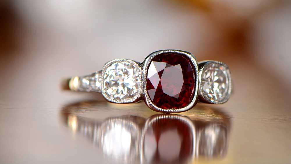 three stone vintage ring