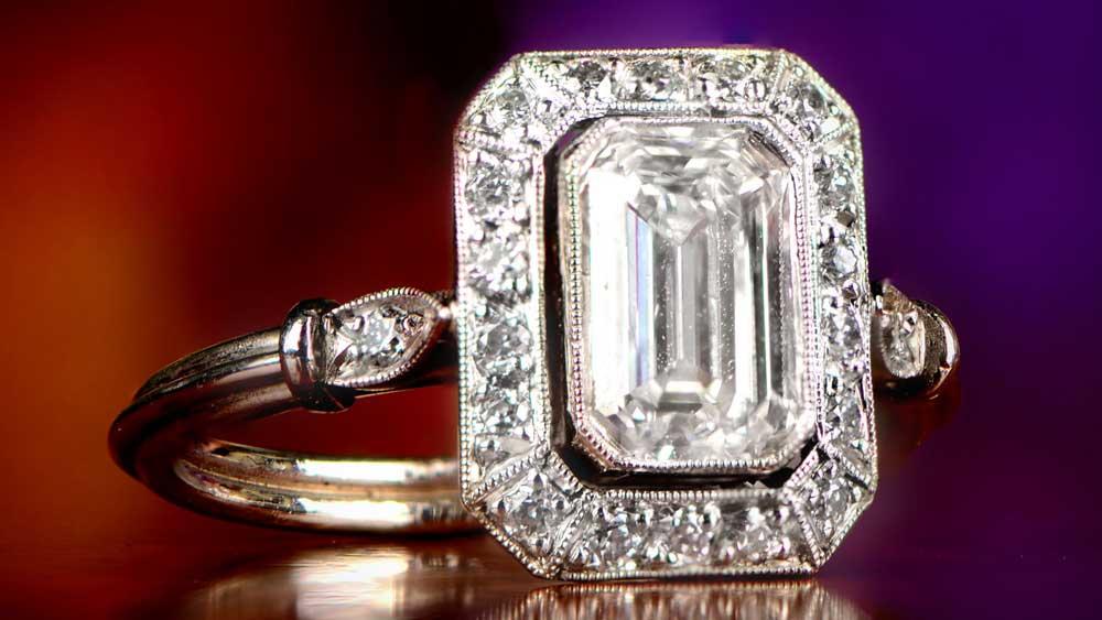 Vichy Diamond Emerald Cut Engagement Ring