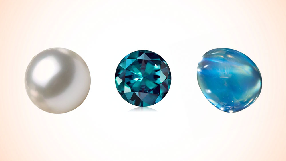Birthstones for June Pearl Alexandrite Moonstone