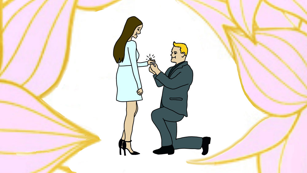 Guy Proposing to Girl with Engagement Ring Drawings Clipart
