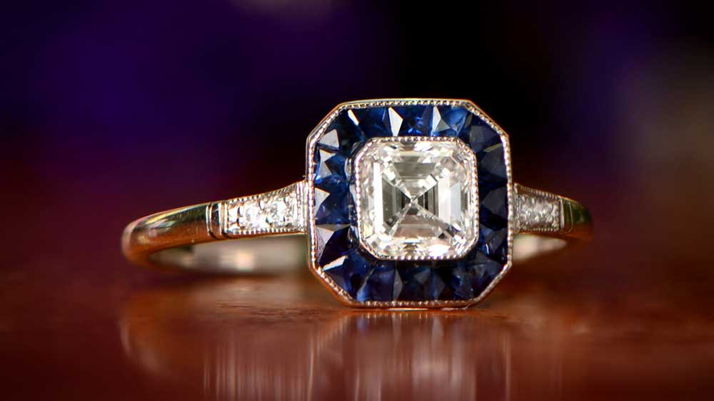 Sapphire Halo Deco Era Ring