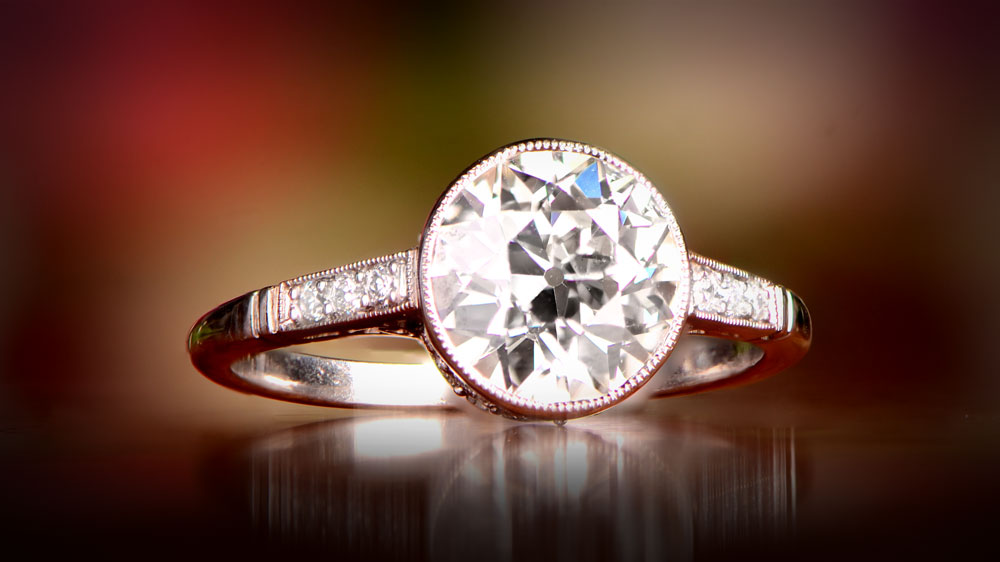 12656 Artistic Old European Cut Engagement Ring VS1