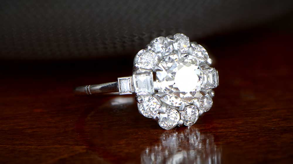 Platinum Engagement Ring with Old European Cut Diamond