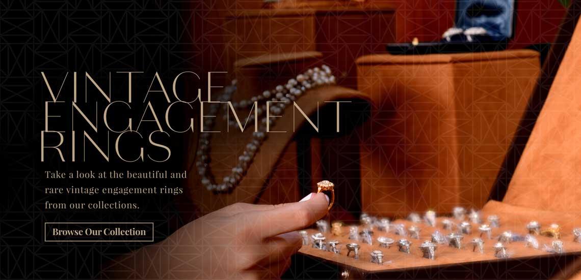 Vintage Engagement Rings in Showroom