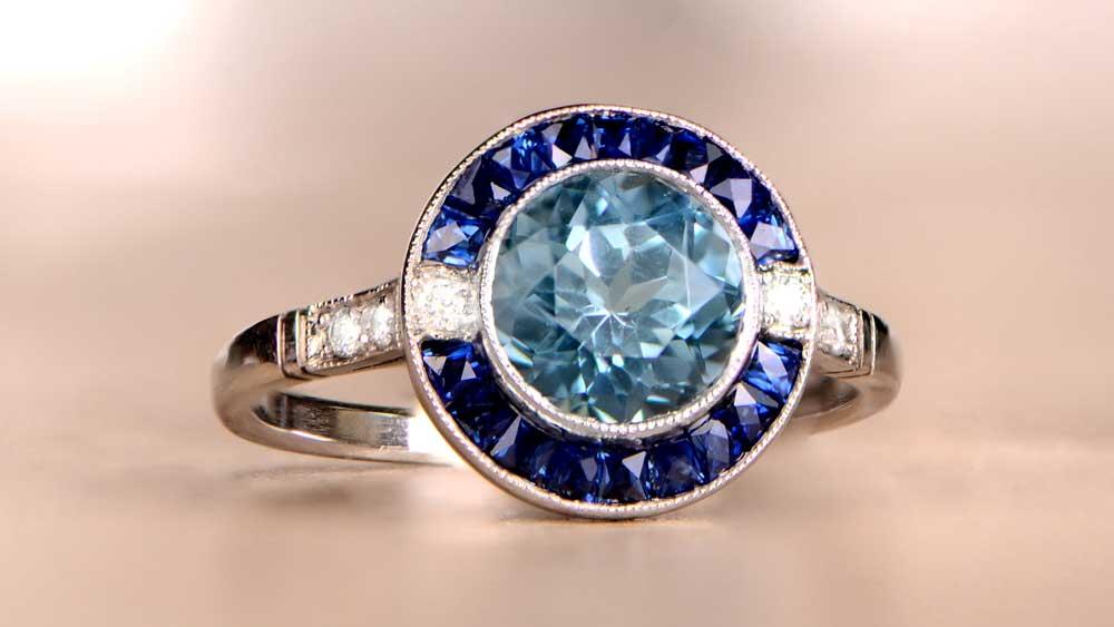 12602 Aquamarine and Sapphire Halo Ring Artistic