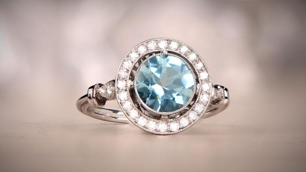 12614 Aquamarine Engagement Ring with Diamond Halo Artistic