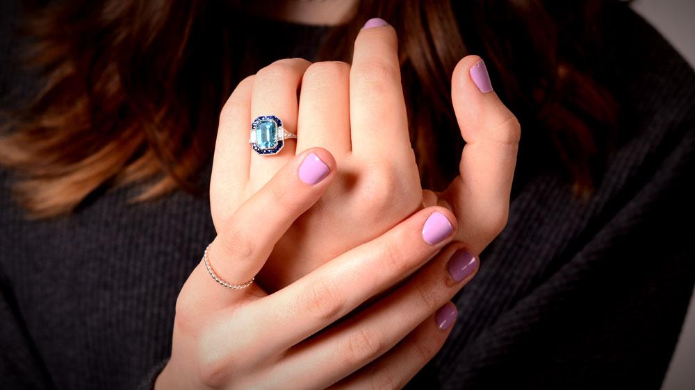 12619 Showing Aquamarine Ring on Hands