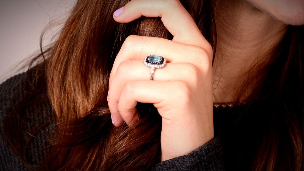 12701 Aquamarine Engagement Ring with Sapphire and Diamond Halo