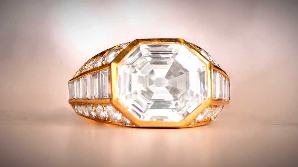 Asscher Cut Diamond Engagement Ring Wearing