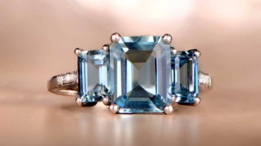 12015 Three Stone Aquamarine Ring