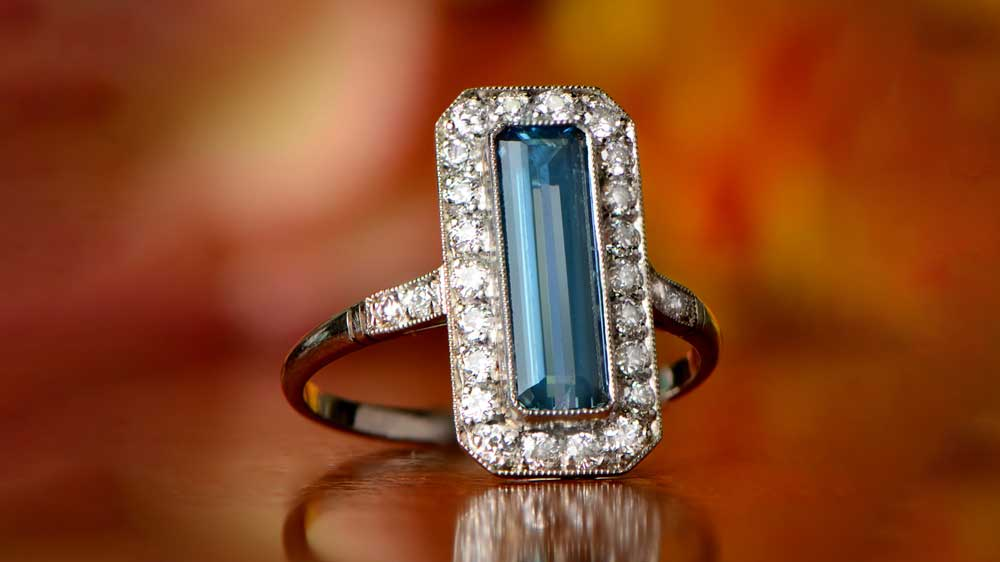 12063 Elongated Aquamarine and Diamond Ring
