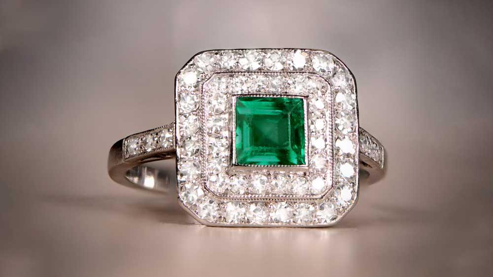 12407 Emerald Halo Ring Artistic