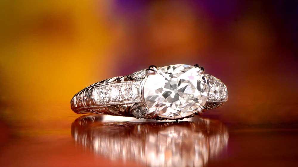 12516 Diamond Platinum Engagement Ring Artistic