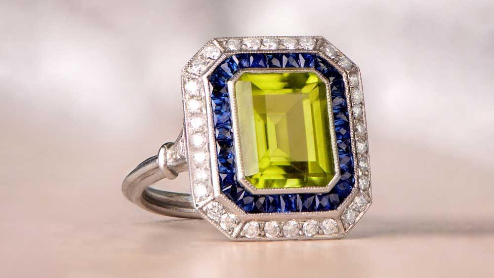 12791 Peridot Halo Sapphire and Diamond Engagement Ring