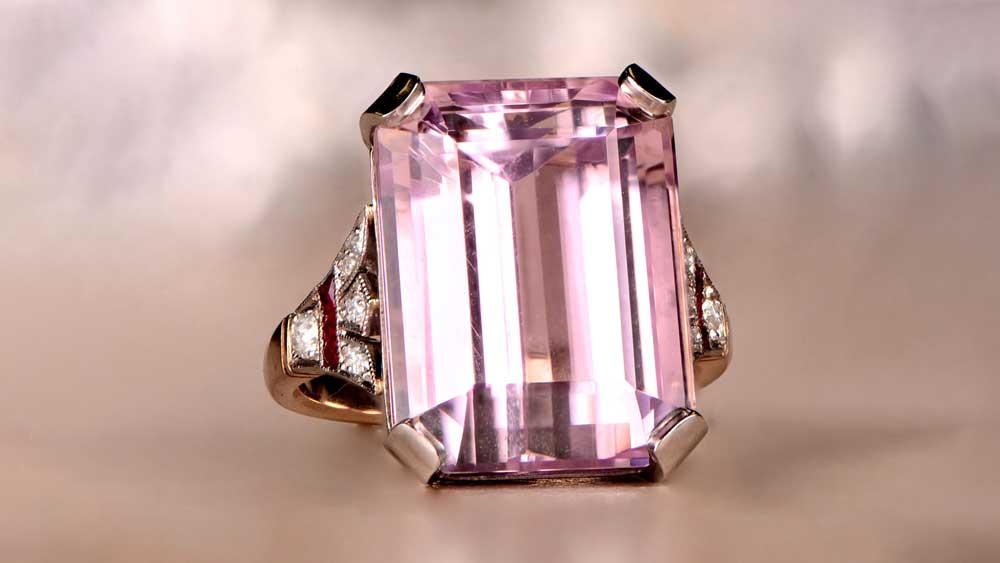 12794 Kunzite and Diamond Ring